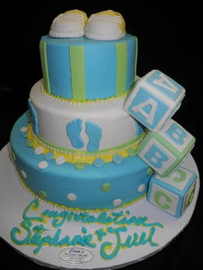 Baby Blocks & Feet Baby Shower Cake - BS061