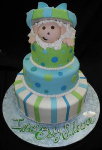 Lime Green and Blue Baby Popping Out Cake - BS210