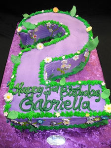 Number two Shape Whip Cream Cake - B0467