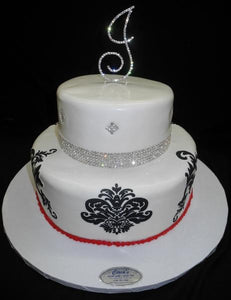 Diamond White and Red Birthday Cake - B0674