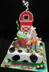 Barn Fondant Birthday Cake - B0785