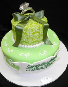 Green Demask Engagement Cake - W125