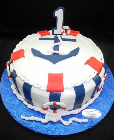 Nautical 1st Birthday Cake - B0191