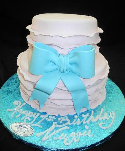 Pink and Blue 1st Birthday Cake - B0448