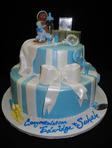Baby Blue Fondant Baby shower Cake - BS057