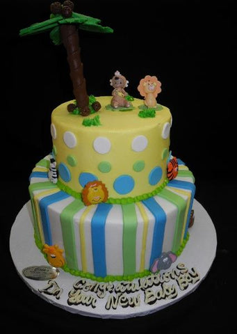Safari Theme Icing Baby Shower Cake - BS284