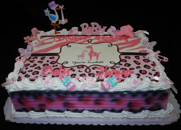 Pink Leopard Print Edible Image Baby Shower Cake - BS005