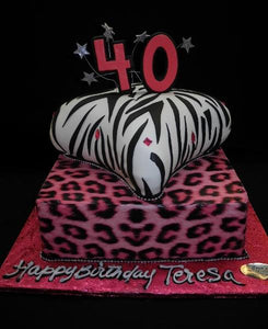 Pink Leopard and Zebra Print Birthday Cake - B0436