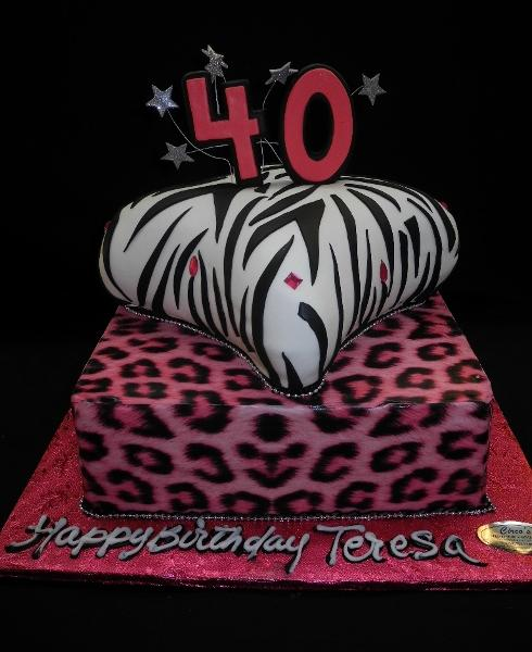 Surprising Pink Leopard And Zebra Print Birthday Cake B0436 Circos Funny Birthday Cards Online Overcheapnameinfo