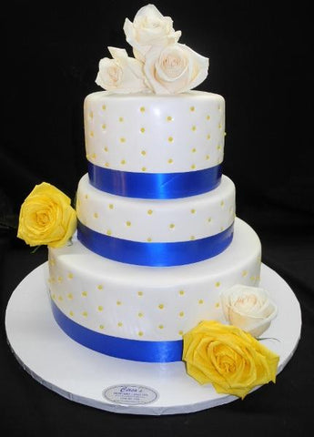 Blue and Yellow Wedding Cake - W168