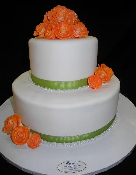 Orange, Green and White Fondant Cake - W102