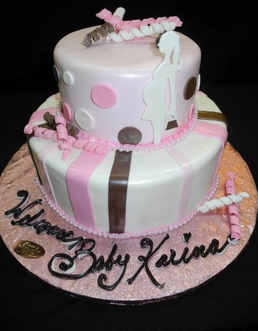 Pink, Brown and White Baby Shower Cake - BS252