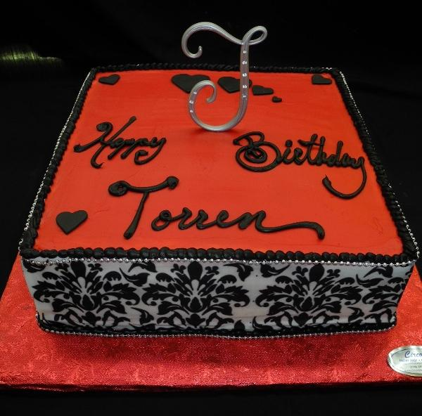 Demask Print and Red Fondant Birthday Cake - B0157