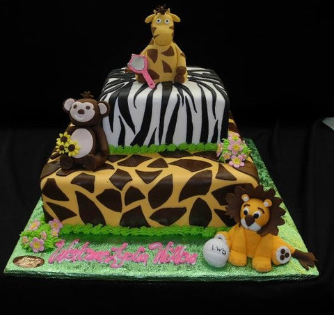 Safari/Jungle Theme Baby Shower Cake - BS285
