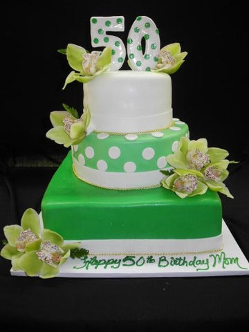 50th Green and White Fondant Cake - B0805