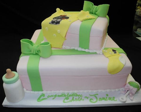 Gift Box Pink and Green Baby Shower Cake - BS188