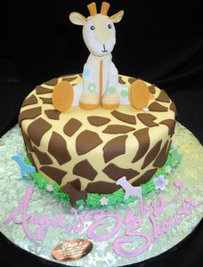 Giraffe Safari Baby Shower Cake with Edible Fondant Giraffe