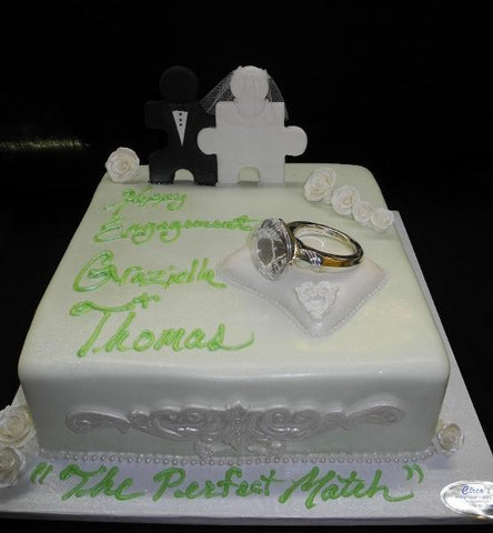 Engagement Green and White Cake - W142