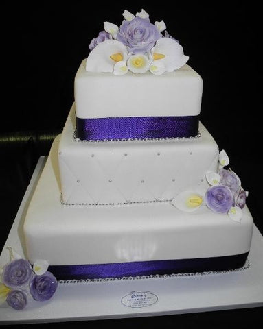 Purple and White Wedding Cake - W094