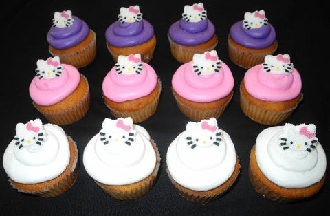 Pink and Lavender Cupcakes with Hello Kitty Decorations - CC058