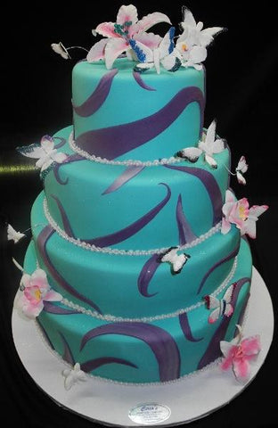 Lavender Swirls with Turquoise Cake - B0556