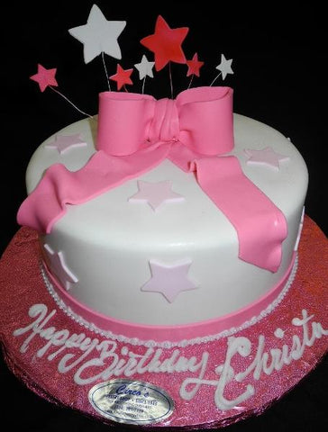 Pink and White Star Cake - B0439