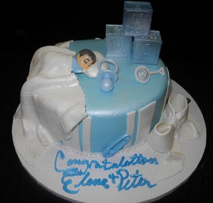 Fondant Tier Cake with Baby Sleeping on Top