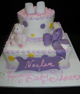 Cream Baby Shower Cake - BS164