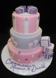 Baby Shower Pink and Lavender Cake - BS115