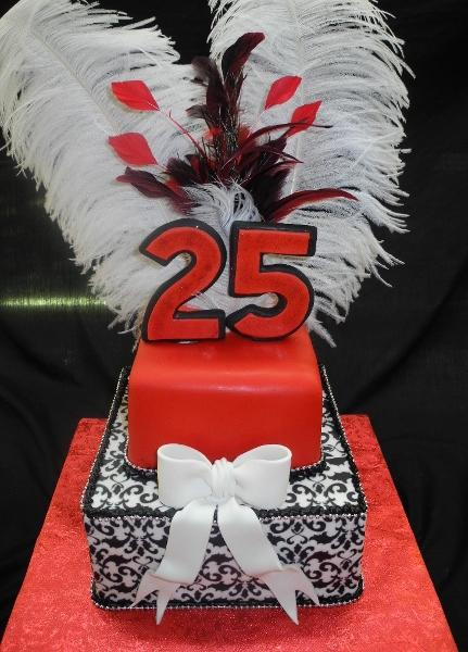 Demask & Feathers 25th Birthday Cake - B0677