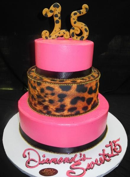 Cream Leopard and Pink Cake - B0694