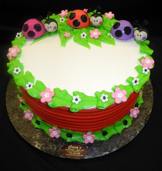 Lady Bug Birthday Cream Cake - B0569