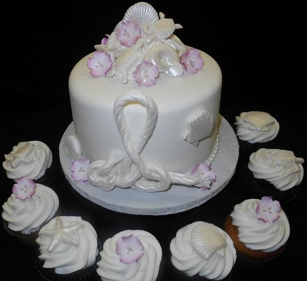 nautical, sea shells, wedding,cupcakes
