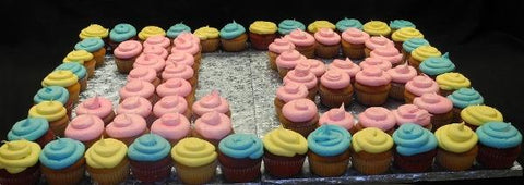 cupcakes, number, blue, pink