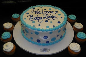polka dots, blue, cream, one tier