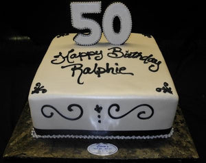 Marvelous Black And White 50Th Birthday Cake B0760 Circos Pastry Shop Funny Birthday Cards Online Alyptdamsfinfo