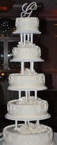 Wedding cakes cream 5 tiers, Traditional wedding cakes,