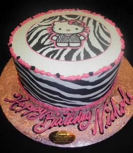 Astounding Hello Kitty Zebra Print Birthday Cake B0598 Circos Pastry Shop Funny Birthday Cards Online Overcheapnameinfo
