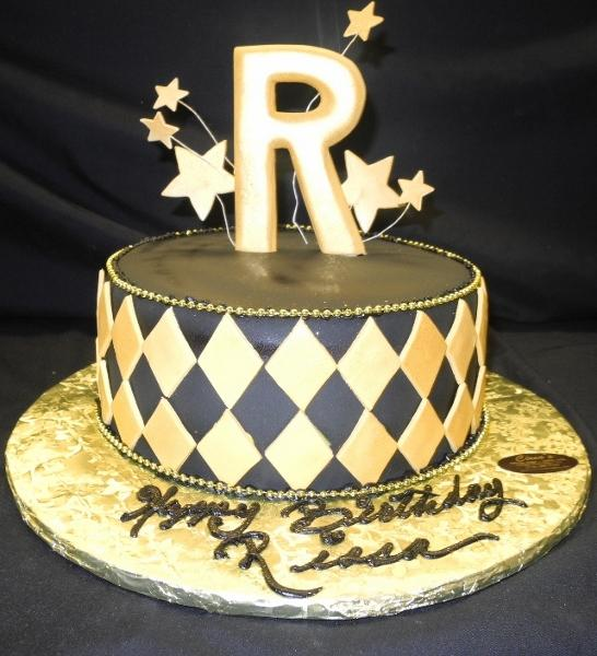 gold and black, letter, one-tier