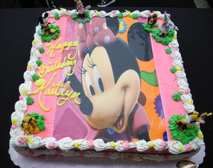 whip cream, edible image, minnie mouse