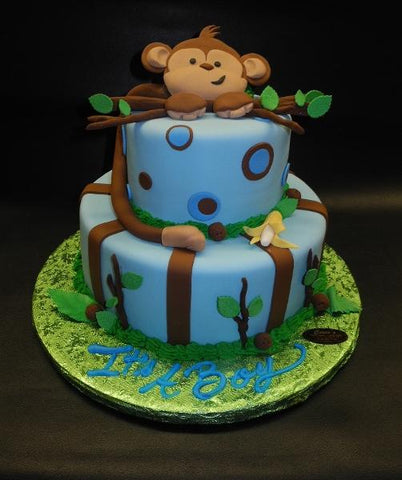 Monkey, tree branches, brown, fondant, jungle