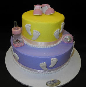 Yellow And Purple Baby Shower Cake With Baby Feet Bs317 Circo S