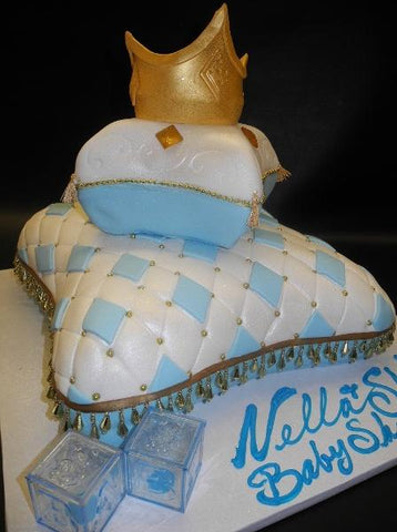 Crown, pillow, baby blue