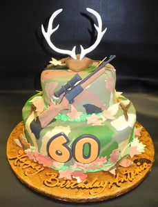Magnificent Hunting 60Th Birthday Cake B0594 Circos Pastry Shop Personalised Birthday Cards Veneteletsinfo