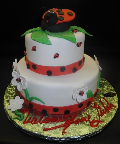 Lady Bug, green, red, polka dots, flowers