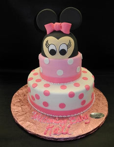 Minnie Mouse, pink, polka-dots, minnie mouse face, 3D minnie mouse face