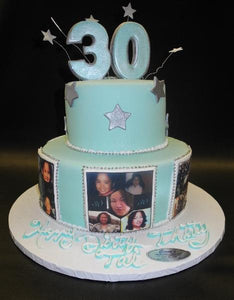 edible image, 30th birthday, tiffany blue, silver, stars