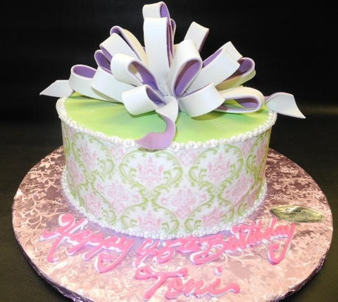 loop bow, damask, green, lavender