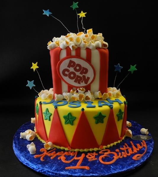 popcorn, first birthday, fondant