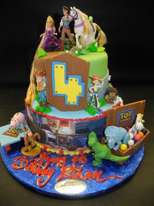 Astounding Toy Story And Tangled Birthday Fondant Cake B0266 Circos Funny Birthday Cards Online Overcheapnameinfo
